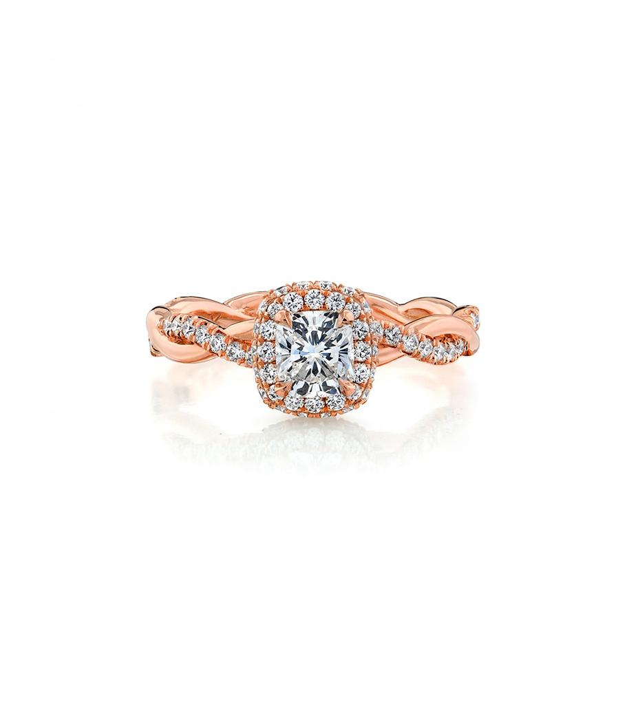 14k Rose Gold Diamond Halo With Twist Ring Setting Simone Son Huntington Beach Ca 714 964 4012