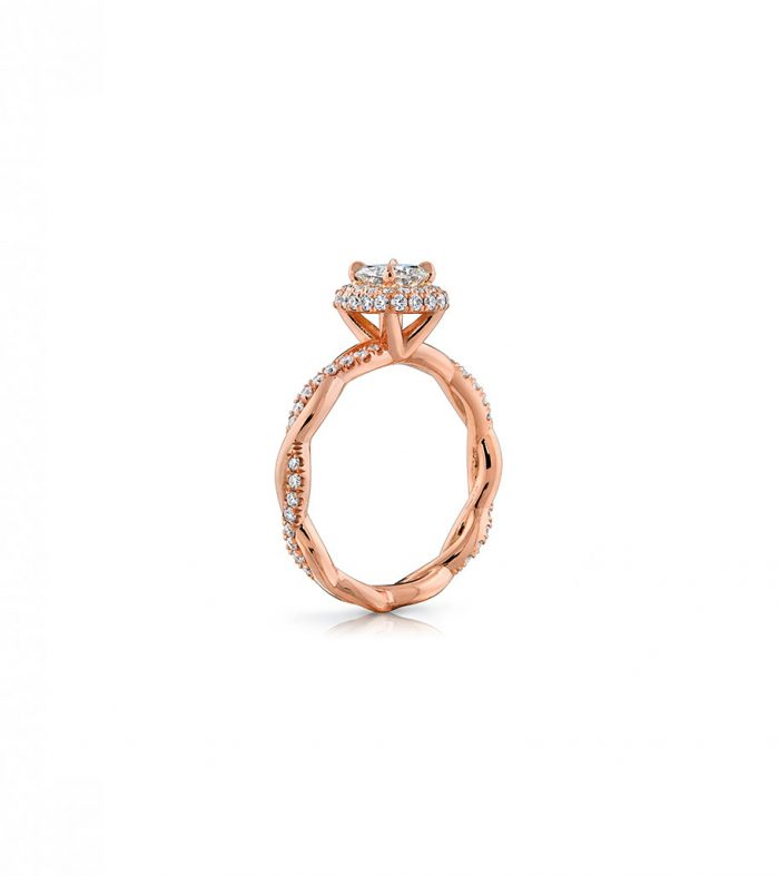 14k rose gold engagement ring with diamond twist band