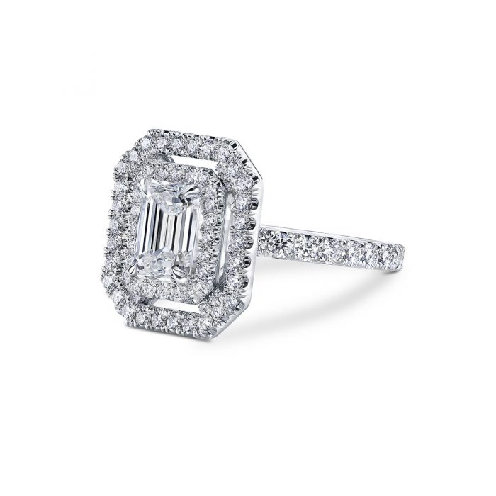 Emerald Cut Diamond Engagement Ring By Simone and Son