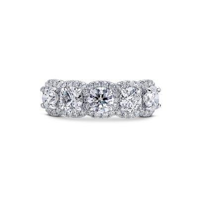 5 stone halo ring by Simone and Son Jewelers