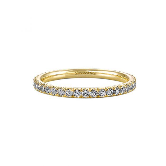 Micro pave diamond wedding band by Simone and Son