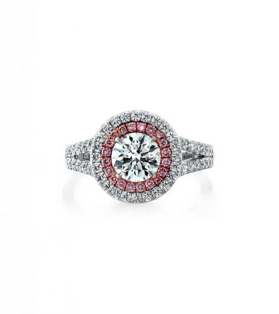 14k white gold engagement ring with pink diamond halo