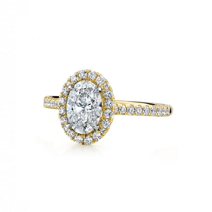 Micro Pave Diamond Halo Engagement Ring By Simone and Son