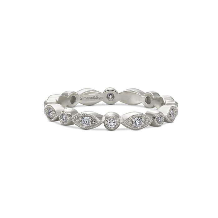 Marquise Round Diamond Eternity Wedding Band by Simone and Son