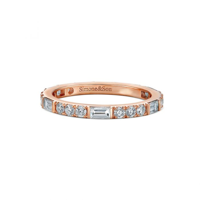 Baguette Round Diamond eternity wedding band by Simone and son