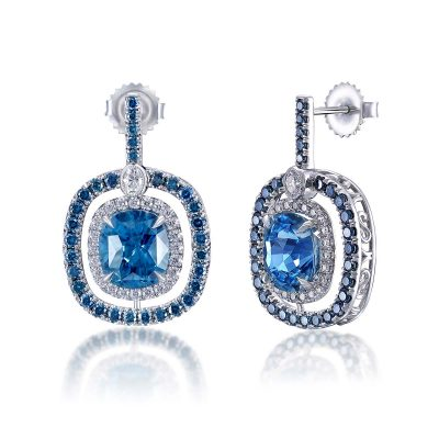 Blue Zircon Diamond Halo Errings By Simone and Son Jewelers