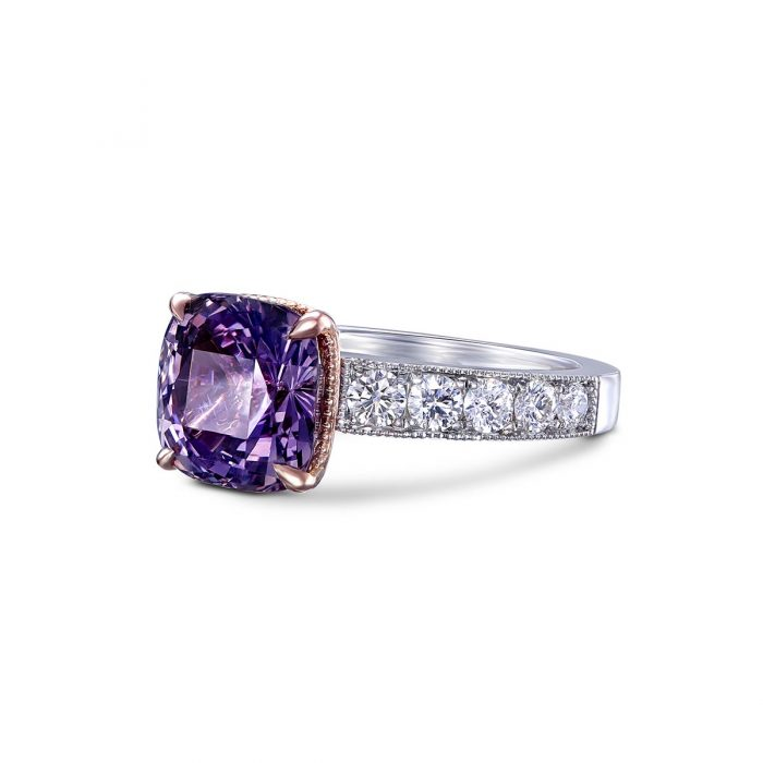 Platinum and 14k Rose Gold Lavender Spinel