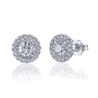 Diamond Halo Earrings By Simone and Son Jewelers