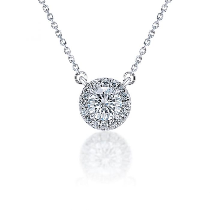 Diamond Halo Pendant by Simone and Son Jewelers