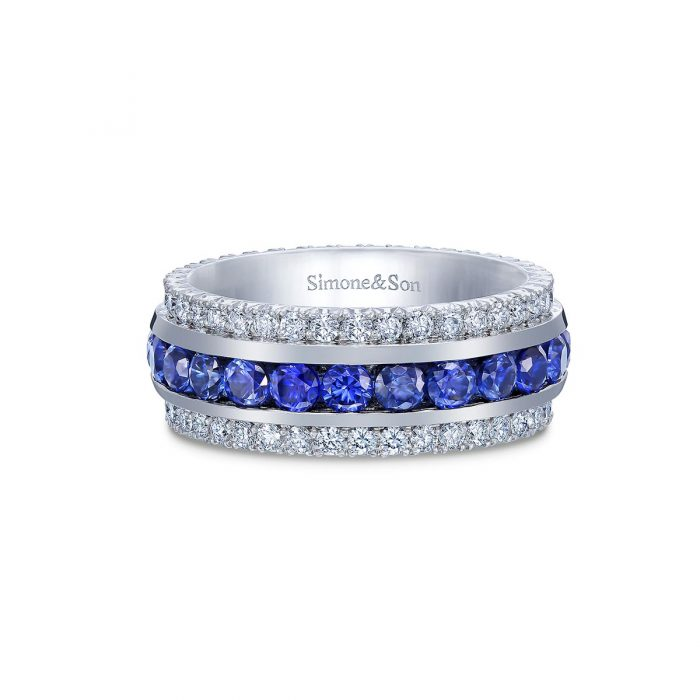 Sapphire and Diamond Eternity Band By Simone and Son